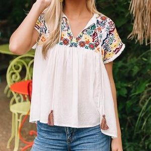 Embroidered Tassel Top in white by THML Large